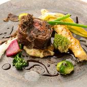 『国産和牛サーロインの備長炭グリル 赤ワインソースレホール風味 季節の野菜を添えて』