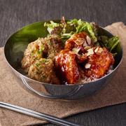 静岡県産の釜揚げしらすと鮭の2色丼。大根おろしでさっぱり