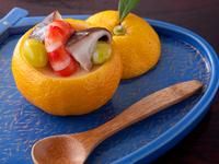 柚子の皮を器にした季節のメニュー『柚子釜蒸し』