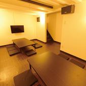 くつろいだ宴会ができる、地下には落ち着いた雰囲気の個室を完備