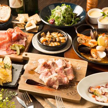【 B コース】グリル料理も楽しめる、本格コース! 飲放2H 全9品