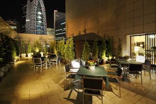 新宿の夜景を眺めながらリストランテのテラスで
