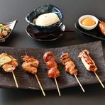 【コース内容】先付・自家製豆腐・薩摩地鶏のたたき・焼き物6本<正肉、つくね、皮、ぼんぽち、なんこつ、手羽先>