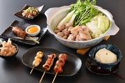 【コース内容】先付・自家製豆腐・薩摩地鶏のたたき・焼き物4本<うずら、正肉、つくね、巻きもの>・鶏鍋・〆の雑炊or麺