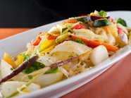 南会津の農家から仕入れた野菜とカラスミとのハーモニー『有機野菜とカラスミのスパゲティー』