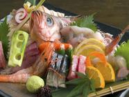 仕入れの状況によって日々変わる。旬の魚介をふんだんに盛り合わせた『御造り盛り(中)』(三~四人前)