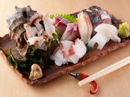 宇和島から直送された旬の魚介がずらりと並ぶ『お造り五点盛り』