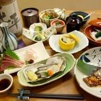 店主が厳選した、その季節に美味しい食材を使う、贅沢な和食のフルコース。椀物にも注目!