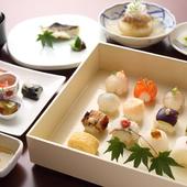 四季を感じさせる趣向が凝らされた、女性に人気の『姫寿司御膳』