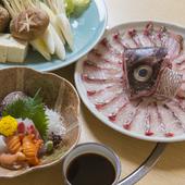 さっと火を通した鯛を、あっさりポン酢で食す口福 『天然鯛しゃぶコース』