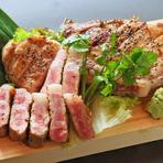 エゴマ豚とイベリコ豚とマンガリッザポークのロース三種盛り