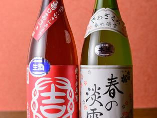 新鮮な旬の素材でつくる料理と種類豊富なお酒の数々