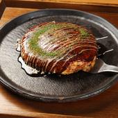 ダシの旨みがたっぷりと。フワッとした口当たりの『京都お好み焼』