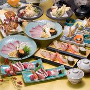 【天然ぶりしゃぶと寿司コース】 白子!のど黒!ぶり!が味わえるコース 先付け3種盛り・鮮魚4点盛り・とろ鯖棒寿司・天然ぶりしゃぶ・白子が入った天ぷら盛り合わせ・のど黒が入った寿司5貫盛り・汁物・甘味