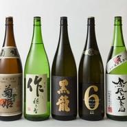 和酒は日本のシャンパンとも言える天然発泡日本酒、希少性の高い銘柄の日本酒、焼酎、珍しい果実酒など日本各地より厳選されたものをご用意しております。
