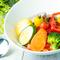 彩り野菜とトマトとソイチーズのパスタ