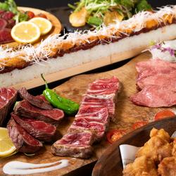 熟成肉の3種盛り合わせや名物ユッケ寿司まで、〆まで美味しく堪能いただけるプランです。