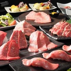 A5和牛の盛り合わせをタレではなく岩塩で食す、宴会に最適のコース