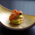 太刀魚の塩焼き、南京雲丹ソース