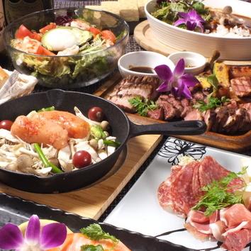 人気No1の肉盛りプレートが入った 大満足リゾートコース