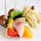 前菜 3種(真鯵とオレンジのサラダ、穴子のカルピオーネ、バイ貝の白ワイン蒸し)