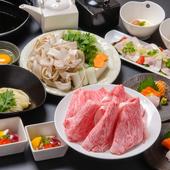 目の前で焼き上がるお肉、香りが食欲をくすぐる『すき焼きコース』
