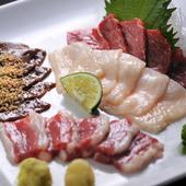熊本県産の4部位が味わえる『馬刺 盛り合せ』