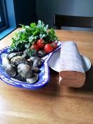 こだわりの食材 イタリア産マグロのからすみとあさり