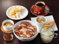 前菜2種・ローストビーフ丼・豆腐ラザニア・豆乳みそ汁・ドリンク&デザート