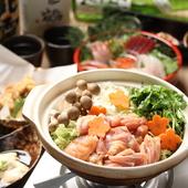 牡蠣鍋・越乃鶏鍋など鍋料理充実