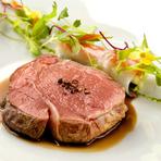 美しいロゼに仕上げられた『仔牛ロース肉のアサード』