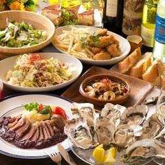 生牡蠣やアヒージョなど当店の人気のメニューがリーズナブルに楽しめるパーティ向けコースです。