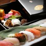 吉楽庵のおすすめ料理『四季会席』にお寿司を入れたコース料理。接待や食事会、法事など合います