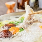 お肉と魚が食べたい方必見!! 海鮮三種盛りと揚げ茄子と合鴨の朴葉焼きなど豪華料理三昧コース。