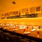テーブルの並び席で3名様~約50名様までのパーティが可能です。 日・月・火限定のお得なコース「4000円飲み放題付き」など、「女子会」「歓送迎会」に最適なコースメニューで、ぜひご利用ください。