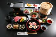 熟練の料理人による、その日のおすすめ厳選部位を贅沢に盛り合わせた『近江牛3種盛り御膳』