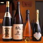 日本酒もシャンパーニュも、どんとこい。美酒が料理を盛り上げる