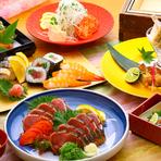 """大名では秋を感じるコース""""秋美月""""を期間限定でお仕立て致しました。松茸などのキノコをはじめ、サーモンなどの季節の食材を使ったお料理と、大名名物 引き上げ湯葉を含む全8品のコース内容となっております。"""
