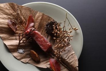 ハーブ鮎の奉書焼 枝豆とコシヒカリのガレット 木の芽香るコンソメとともに