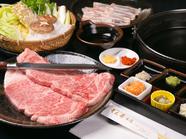 特上和牛サーロイン使用を使用したジューシーさが魅力の『ステーキ鍋コース』