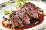 おすすめのジビエ料理『信州産 野生鹿背肉のロースト』