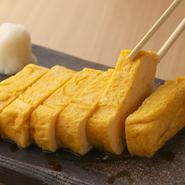 鮮やかな黄色の『出汁巻き玉子』は、宮城県白石、蔵王のブランド卵「竹鶏ファームの竹鶏たまご」でつくっています。全国農業コンクールの優秀賞受賞歴もある農場で育てる卵は、一度食べたら忘れられない上質さ。