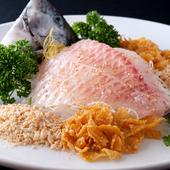 お客さんの目の前で調理する『石鯛、鯛のお刺身』