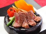 石焼で最後まで美味しい『石焼き黒毛和牛のロースステーキ』