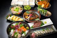 宴会コースは『松』、『竹』、『梅』の3コース。かなで自慢の料理を仲間と一緒に十分堪能する