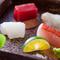 本山葵やポン酢など、熟成魚の旨みをより一層引き立たせてくれる薬味と一緒にいただく『お造り』