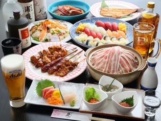 焼き物や刺身など、多彩な料理揃いの『親方おまかせ料理コース』