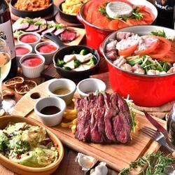 選べるメインは、「牛ハラミのグリルステーキ」or今年のトレンド鍋「発酵鍋」「チーズ鍋」から選べます