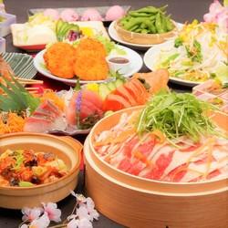 肉、魚、野菜のバランスのとれた飲み放題付きの宴会コースです。※クーポンご利用時の金額です。