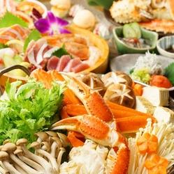 豪華カニ料理が食べ放題!『蟹刺し入りお造り4点盛り』も付いて心ゆくまで蟹をご堪能頂けます!